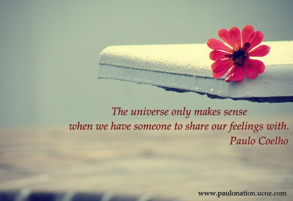 The universe only makes sense when we have someone to share our feelings with. Paulo Coelho